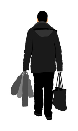 Lonely man doing everyday grocery shopping with shopping basket at supermarket, vector silhouette isolated on white background. Male usual walk after work with consumer bag buy food and another goods. Vectores