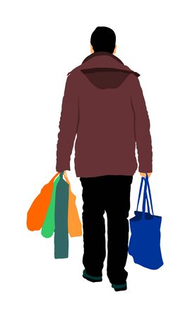 Man doing everyday grocery shopping with shopping basket at supermarket, vector illustration isolated on white background. Male usual walk after work with consumer bags buy food and another goods.