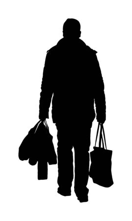 Man doing everyday grocery shopping with shopping basket at supermarket, vector silhouette isolated on white background. Male usual walk after work with consumer bags buy food and another goods.