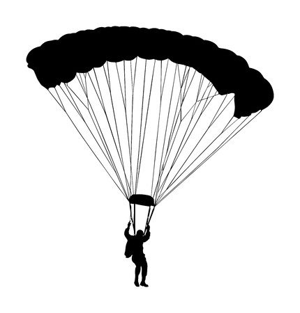 Parachutist in flight vector silhouette illustration isolated on white background. Insurance risk concept. Man in air jump. Skydiver acrobatics.