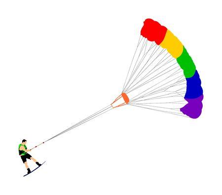 Man riding kiteboard vector. Extreme water sport kiteboarding with parachute. Kite surfer on waves. Kite surfing on beach, enjoying in summer holiday time. Kitesurfer.
