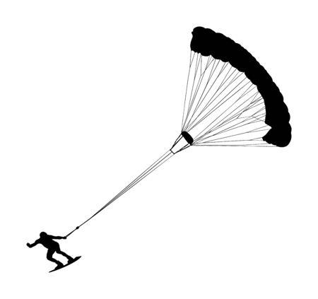 Mężczyzna jazda kiteboard wektor ilustracja sylwetka. Ekstremalne sporty wodne kiteboarding ze spadochronem. Kite surfer na falach. Kitesurfing na plaży, ciesząc się w czasie wakacji letnich. Kitesurfer. Ilustracje wektorowe