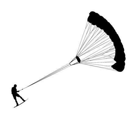 Man riding kiteboard vector silhouette illustration. Extreme water sport kiteboarding with parachute. Kite surfer on waves. Kite surfing on beach, enjoying in summer holiday time. Kitesurfer.