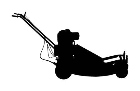 Silhouette de vecteur de tondeuse à gazon. Coupe-herbe tondu pour le jardin. Tondeuse à gazon coupant l'herbe verte. Équipement de paysagiste pour activité de plein air. Coupe-cour arrière. Machine à moteur d'entretien de parc.