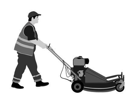 Gardener man mowing lawn mower vector illustration. Grass trimmer cutting. Professional garden worker. Landscaper cut public field in park. Farmer with agricultural machinery. Beautification of yard. Illustration