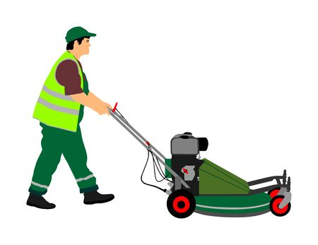 Gardener man mowing lawn mower vector illustration. Grass trimmer cutting. Professional garden worker. Landscaper cut public field in park. Farmer with agricultural machinery. Beautification of yard. Vektorové ilustrace