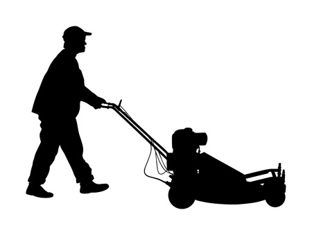 Gardener man mowing lawn mower vector silhouette. Grass trimmer cutting. Professional garden worker. Landscaper cut public field in park. Farmer with agricultural machinery. beautification of yard. Illustration