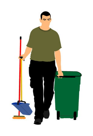 Floor care and cleaning services with washing mop in sterile factory or clean hospital. Cleaning man service vector illustration. Trash bin with worker cleaning job. Street cleaner communal activity. Ilustracja