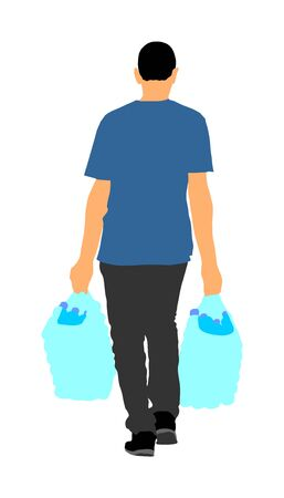 Worker carrying boxes packets vector illustration isolated on white background. Moving situation. Transportation by hands. Man hand transport water battles. Illustration