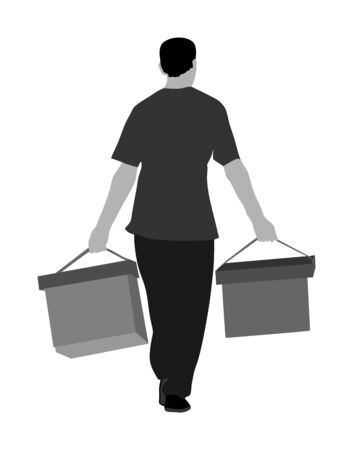 Worker carrying boxes vector illustration isolated on white background. Moving service situation. Transportation by hands. Warehouse activity. Hard work delivery man. Laborer with heavy cargo activity