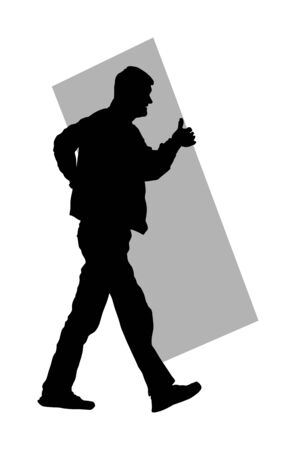 Construction worker carrying tools building material on hands vector  silhouette. Painter work adaptation. Delivery service moving transport, workers carry vector. Handyman warehouse holding job Иллюстрация