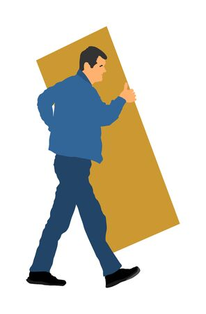 Construction worker carrying tools building material on hands vector  silhouette. Painter work adaptation. Delivery service moving transport, workers carry vector. Handyman warehouse holding job Stock Illustratie