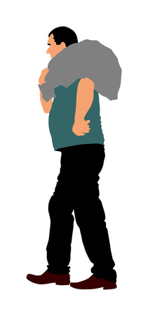 A man carries a sack vector illustration. Toiler worker.  Bag on shoulder worker on farm. Illustration