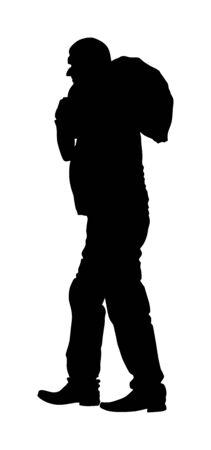 A man carries sack on shoulder vector silhouette. Toiler worker. Tired sweats construction worker with bag on back. Hard worker on farm. Baggage hand transport. Laborer hands transportation jack.