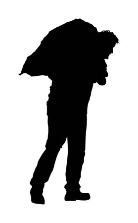 A man carries sack on shoulder vector silhouette. Toiler worker. Tired sweats construction worker with bag on back. Hard worker on farm. Baggage hand transport. Laborer hands transportation jack.