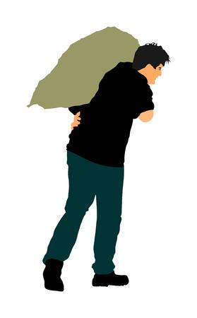 A man carries a sack vector illustration. Toiler worker.  Bag on shoulder worker on farm. 일러스트