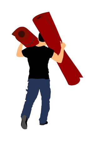 Man carrying rolled carpet and wallpaper vector illustration isolated on white background. Wholesale, logistic, loading, shipment. Activity in warehouse. Moving service for transport. Home adaptation.