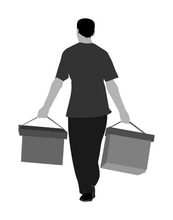 Worker carrying boxes vector illustration isolated on white background. Moving situation. Transportation by hands. 版權商用圖片 - 100036212