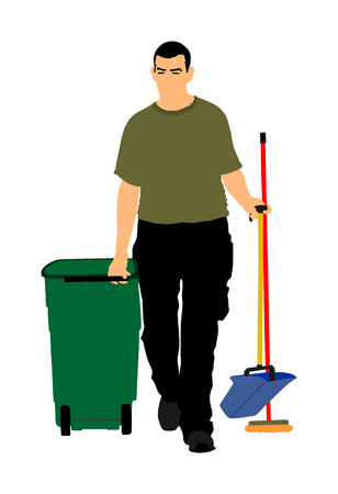 Floor care and cleaning services with washing mop in sterile factory or clean hospital. Cleaning man service vector illustration.  trash bin with worker cleaning the road background.