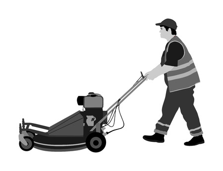 Gardener man mowing lawn mower vector illustration. Grass trimmer cutting. Professional garden worker.