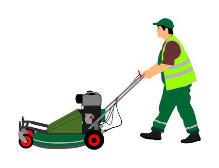 Gardener man mowing lawn mower vector illustration. Grass trimmer cutting. Professional garden worker. Ilustração Vetorial
