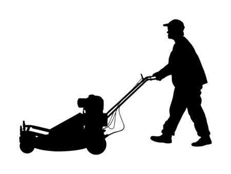 Gardener man mowing lawn mower vector silhouette. Grass trimmer cutting. Professional garden worker. Landscaper cut public field in park. Farmer with agricultural machinery. beautification of yard. 일러스트