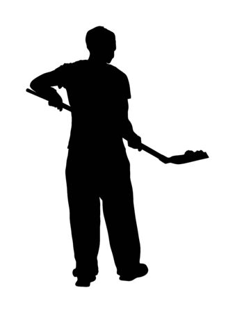 Man with shovel working in garden. Construction worker with spade. Gardener digging the earth vector silhouette. Dirty spade with ground. Farmer with shovel. Digger worker mining. Manual industry. Illustration