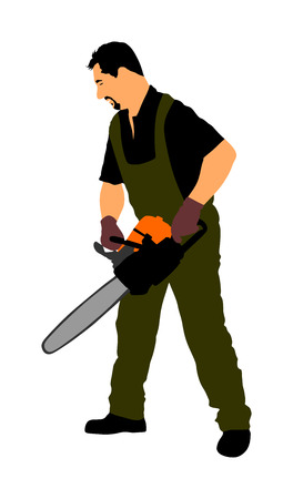 Lumberjack with chainsaw vector isolated on white background.
