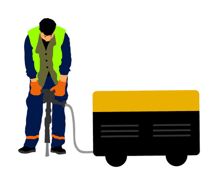 Construction worker electric drill, Drilling concrete driveway with jackhammer, ground in construction area.  イラスト・ベクター素材