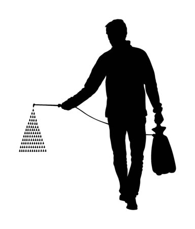 Gardener sprays pesticide vector silhouette isolated. Farmer applying insecticide fertilizer to his vegetable using a sprayer.  Man watering plants or grass. Worker applying insecticide fertilizer. Ilustração