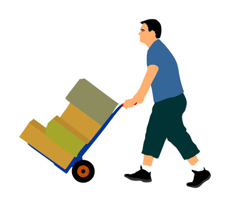 Ciężko pracujący pchający taczki i niosący duże pudełko wektor ilustracja na białym tle. Człowiek dostawy przenosi paczkę wózkiem. Usługa transportu przeprowadzka. Praca w magazynie. Dystrybucja