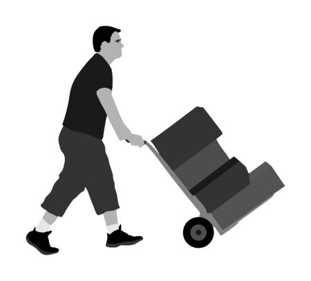 Hard worker pushing wheelbarrow and carry big box vector illustration isolated on white background. Delivery man moving package  by cart. Service moving transport. Warehouse job activity. Distribution