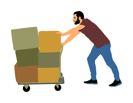 Trabajador duro empujando la carretilla y llevar la ilustración de vector de caja grande aislada sobre fondo blanco. Repartidor moviendo paquete en carro. Servicio de transporte en movimiento. Actividad de trabajo de almacén.