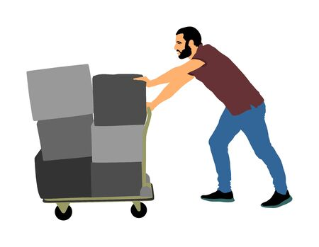 Delivery man carrying boxes of goods vector. Post man with package. Distribution procurement. Boy holding heavy load for moving service. Handy man in move action. Hand transportation method by cart.