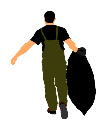 Gardener man with bag of leaves or garbage, trash, vector illustration. Landscaper hold a plastic bag with garbage. Backyard Garden Summer Clean Up. Laborer working outdoor. Hard worker with luggage.