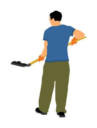 Gardener digging the earth vector illustration. Dirty spade with ground. Man with shovel working in garden. Construction worker with spade. Farmer with shovel. Digger worker mining. Vecteurs