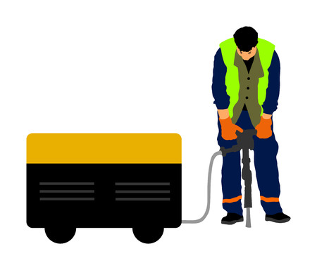 Construction worker electric drill Drilling concrete driveway with jackhammer, ground in construction area. Man repairing road surface with heavy duty machine. mason drilling cement concrete. sidewalk  イラスト・ベクター素材