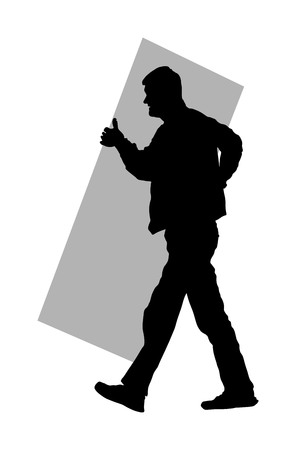 Construction worker carrying box tools building material on hands vector  silhouette. Painter work adaptation. Delivery service moving transport, workers carry vector. Handyman warehouse holding job