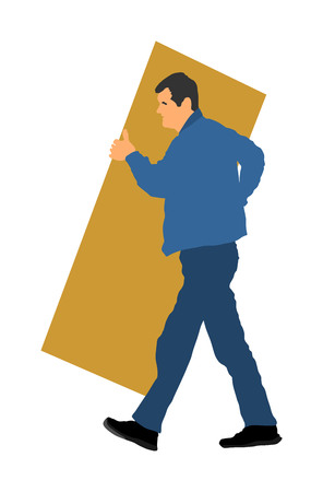 Construction worker carrying box tools building material on hands vector illustration. Painter work adaptation. Delivery service moving transport, workers carry vector. Handyman warehouse holding job