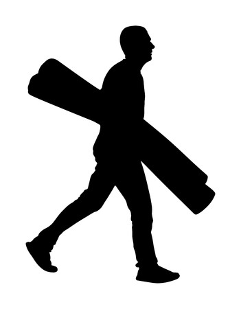 Man carrying rolled carpet and wallpaper vector silhouette isolated on white background. Wholesale, logistic, loading, shipment. Activity in warehouse. Moving service for transport. Home adaptation.