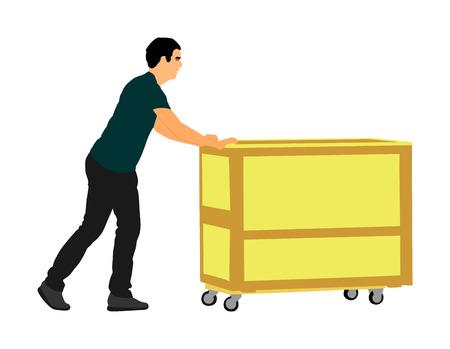 Der harte Arbeiter, der Schubkarre drückt und tragen die große Kastenvektorillustration, die auf weißem Hintergrund lokalisiert wird. Bewegliches Paket des Lieferers durch Warenkorb. Service Umzugstransport. Lagerjobaktivität.