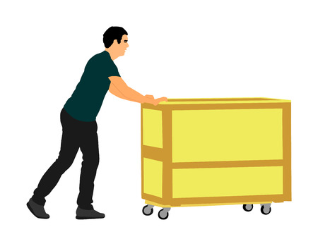 Hard worker pushing wheelbarrow and carry big box vector illustration isolated on white background. Delivery man moving package by cart. Service moving transport. Warehouse job activity. Vettoriali