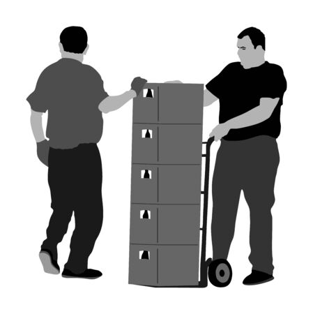 Wholesale, logistic, loading, shipment people hard workers. Man carrying loader with goods at warehouse. Transportation carrying on wheelbarrow vector illustration, team working. Crates of beer, drink