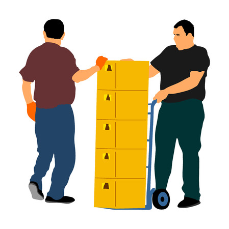 Wholesale, logistic, loading, shipment and people concept. Man carrying loader with goods at warehouse. Transportation carrying on wheelbarrow vector illustration, team working. Crates of beer, drinks Illustration