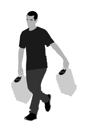 Man carrying boxes of goods, delivery man with service. Distribution and procurement. Boy holding heavy package for drink store.