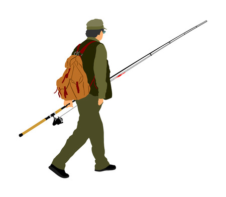 Fisherman vector illustration isolated on white background. Outdoor leisure activity. Senior man go to fishing. Nature sport. Fisher man with fishing rod go to the river. 矢量图像