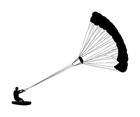 Hombre montando kite board vector silueta. Deportes acuáticos extremos kite boarding con paracaídas. Kite surfista en olas disfrutando en vacaciones de verano.