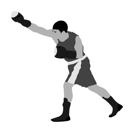 Boxer in ring vector illustration isolated on white background.  Strong fighter. Direct kick. Sportsman on training. Sparing. Martial skills demonstration. Boxing sport spectacle event. Kick avodiance