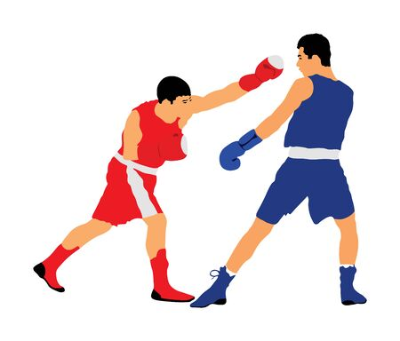 Trainer and boxer vector illustration isolated on white background. Sparring partner martial arts. Direct kick. Clinch, knockout, hook, uppercut. Coach teaches young fighter on training MMA in ring. Stock Illustratie