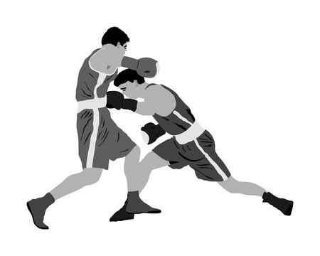 Trainer and boxer vector illustration isolated on white background. Sparring partner martial arts. Direct kick. Clinch, knockout, hook, uppercut. Coach teaches young fighter on training MMA in ring. Illustration